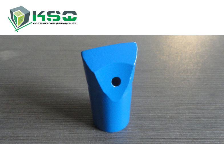 Blue Tungsten Carbide Tapered Chisel Drill Bit Flat Chipways